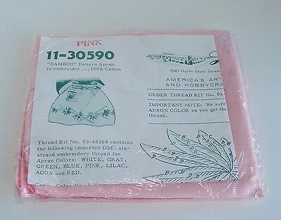 """Stamped for Embroidery """"BAMBOO"""" Pattern Pink Cotton Apron Vintage Lee Wards"""