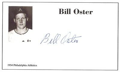 Baseball player Bill Oster autographed 3x5 with photo on card 1954