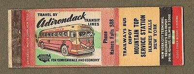 Adirondack Buses Haines Falls New York Matchcover A330