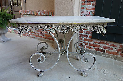 Antique French Pastry Bakers Table Scrolled Iron w Marble Top Kitchen Bakery