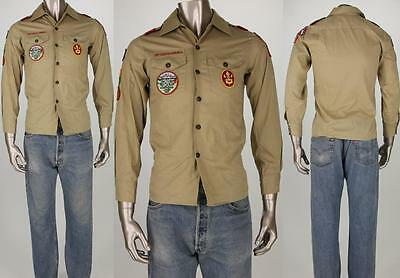80s Vintage BSA Boy Scouts Patch Lot Brown Youth Shirt