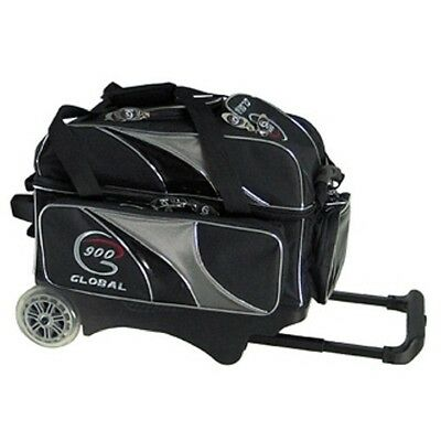 900 Global 2 Ball Bowling Roller Bag with 5-Inch Urethane Wheels Black/Silver