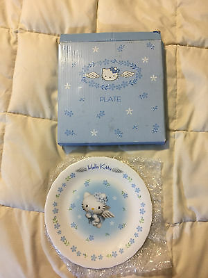 2000 Sanrio Hello Kitty White Fine China Floral Angel Plate Collector Dish!