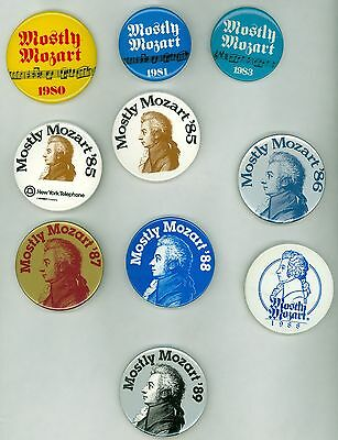 10 Vintage 1980's Mostly Mozart Festival Advertising Pinback Buttons New York