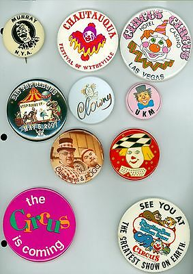 10 Vintage 1940's-90's Circus Clown & Circus Advertising Pinback Buttons UKM