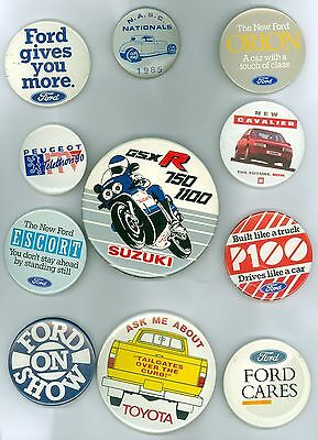 11 Vintage 1970's-80's Automobile & Motorcycle Pinback Buttons Ford Suzuki
