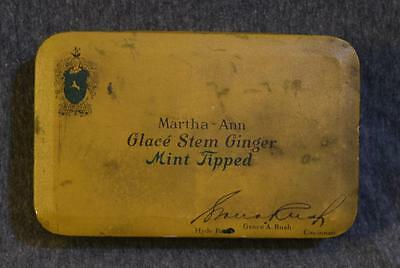 Vintage Martha Ann Glace Stem Ginger Mint Tipped Candy Metal Tin Box