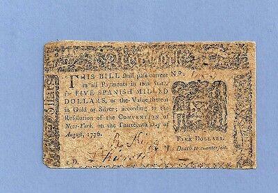 1776 $5 Dollars New York Colonial Currency Very Fine Condition