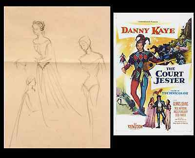 EDITH HEAD Original THE COURT JESTER 1954 Costume Production Sketch #2