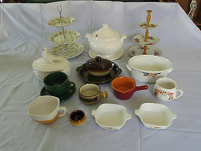 Estate lot of retro vintage table and oven ware. Soup terrine Oven dish Cups