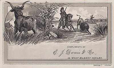 1800's Bangor Me. Maine Davis & Co. Boot Shoes Advertising Victorian Trade Card