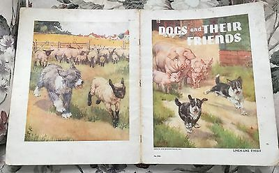 Dogs and Their Friends ~ linen-like book ~ B. Butler art ~ Old English Sheepdog