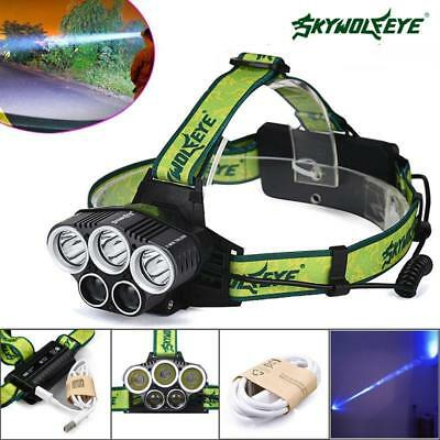 80000LM 5xXM-L T6 LED Rechargeable 18650 USB Headlamp Head Light Zoomable TorchM