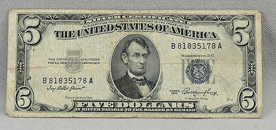 1953 $5 United States Blue Seal Silver Certificate Note!