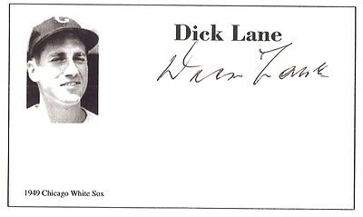 Baseball player Dick Lane autographed 3x5 with photo on card 1949