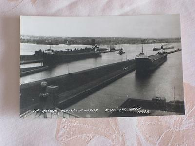 Old B&w Photo Pc Lake Freighters, A.f.harvey & Thomas W.lamont At Soo In Michgan