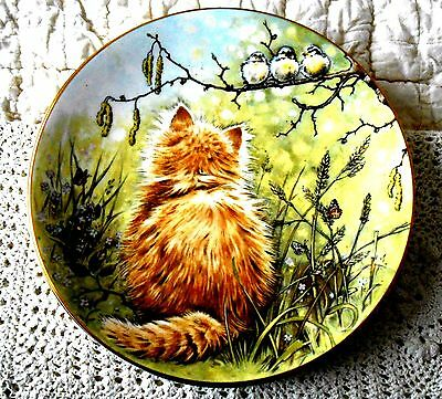 Birdwatcher 4th in Kitten Classics Cat Plate Collection Royal Worcester