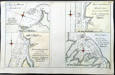 1785 Cook & Benard Old, Antique Map Bays & Harbours of Tahiti & French Polynesia