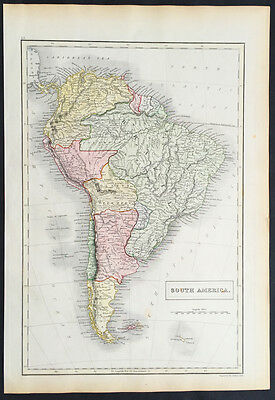 1845 Sydney Hall Large Antique Map of South America