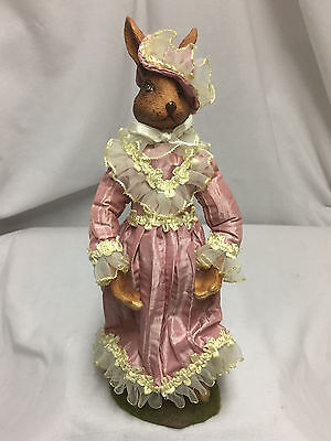 Female Bunny Rabbit Figure In A Pink Dress & Hat W/lace And Ruffles