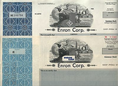 FULL S1ZE FULL COLOR REPRINTS 2 DIFF ENRON STOCKS Crooked E & Kenneth Lay Signed
