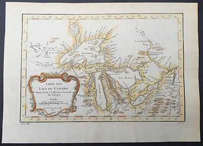 1757 Bellin Antique Map Great lakes of United States & Canada, French Indian War