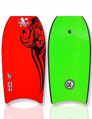 "New Triple X ""The Dubb"" 42"" Bodyboard/Boogieboard/Red/With Coiled Leash"