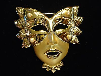 Vintage Masquearade Ball Theatrical Venetian Rhinestone Pearl Mask Brooch Pin