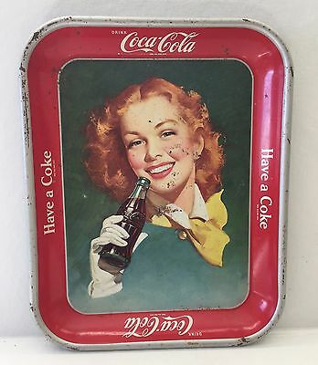 Vintage..fabulous Coca Cola Tin Tray - 1948 Red Hair Girl  (Have A Coke)
