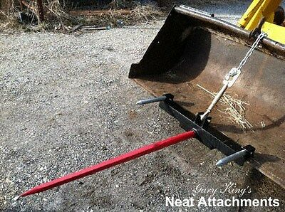 "Hay Bale Spear Attachment Front Loader & Skid Steer Bucket With 1x39"" Prong"