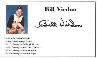 Baseball player Bill Virdon autographed 3x5 with photo on card 1955-84