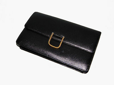 Givenchy Black Leather Clutch Bag with Gold Clasp Vintage 70s