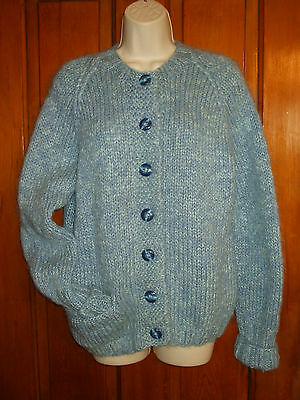 Vtg 60s Variegated Blue Hand Knit Mohair Wool Cardigan Sweater~Great Buttons~S/M