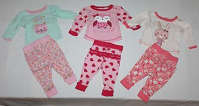 * 000 3 x BABY Girls Clothes Winter Long Pyjamas PJ's - COMBINED POST *