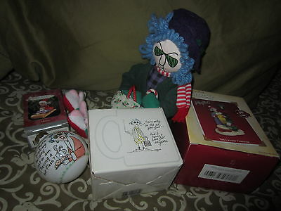 NEW HALLMARK Maxine CHRISTMAS ORNAMENT COFFEE MUG PLUSH DOLL LOT 5 NEW & EUC