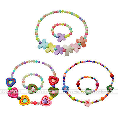 Pretty Girl Candy Color Birthday Party Elastic Necklace Bracelet Plastic Jewelry