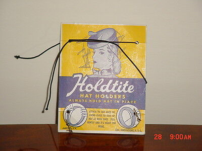 Vintage Holdtite Hat Holder On Original Advertising Card Great Graphics