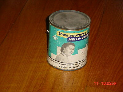 Antique Lowe Brothers Mello-Gloss Colonial Ivory Paint Full Quart Can W/ Label