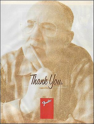 "Mr. Leo Fender guitar designer 8 x 11 death tribute ""Thank You"" 8 x 11 ad print"