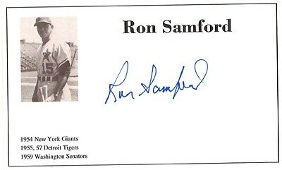 Baseball player Ron Samford autographed 3x5 with photo on card 1954-59