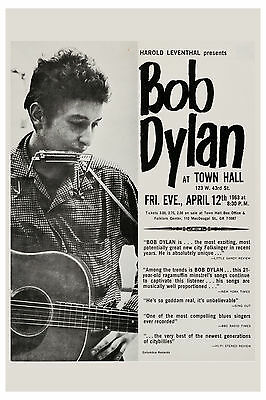 Folk:  Bob Dylan  at Town Hall New York City Concert Poster 1963