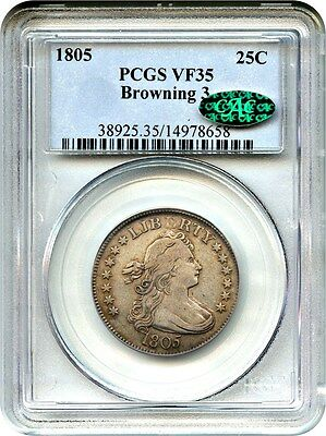 1805 25c PCGS/CAC VF35 (Browning 3) Early Bust Quarter - Bust Quarter