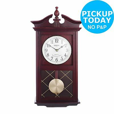 HOME at Argos Dark Oak Pendulum Hourly Chime Wall Clock-Automatic Shut Off.