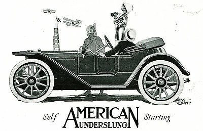 1912 AMERICAN Underslung SCOUT ROADSTER Type 22A Full Page Car AD. Gil SPEAR Art