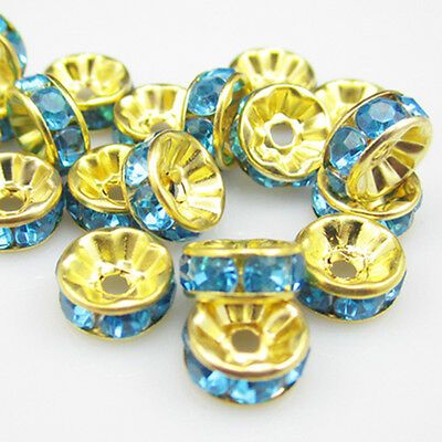 NEW for jewelry 100pcs Size 8MM Plated gold crystal spacer beads lake blue color
