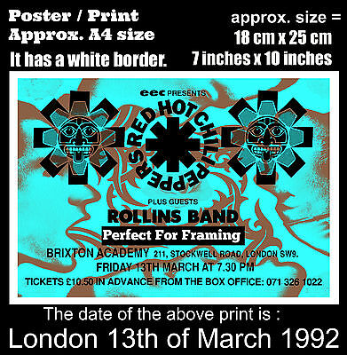 Red Hot Chili Peppers live concert London 13th March 1992 A4 size poster print