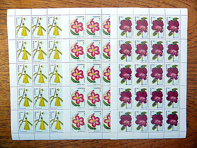 UGANDA Wholesale 1988 Flowers 20/-, 45/- & 50/- in Sheets of 20 NEW LOWER FP2408