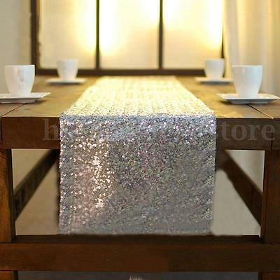 12''*108'' Sparkly Silver Sequin Table Runner For Birthday Party Wedding Decor