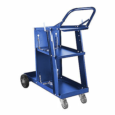 Blue Welding Cart Plasma Cutter Welder Mig Tig Arc Storage For Tanks Gas Bottles