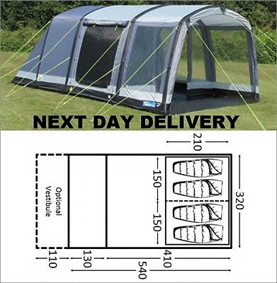 Up Once Kampa Hayling 4 Person Man Air Blow Up Inflateable Tunnel Tent Large